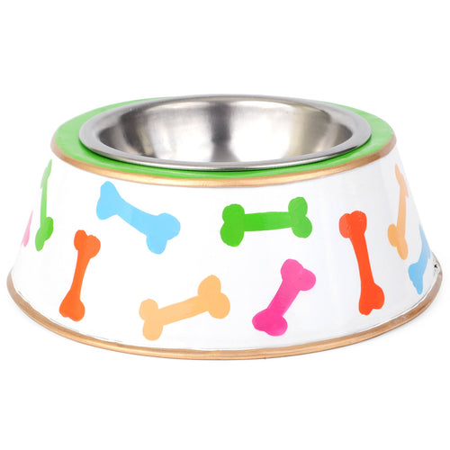 Dog Bones Multi Color Dog Bowl