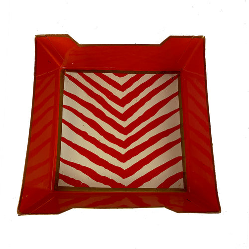 "Sample Red Zebra Stripe Cocktail Napkin Tray ""As-Is"""