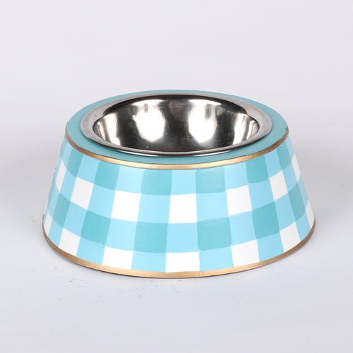 "Sample Gingham Pet Bowl ""As-Is"""
