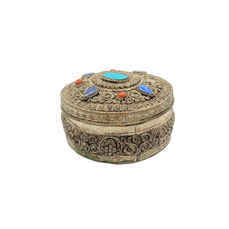 Stone Inlay Collectible Metal Box