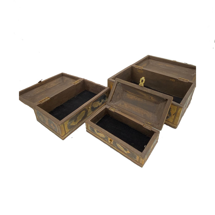 Collectible Set of 3 Antique Wooden Nesting Boxes