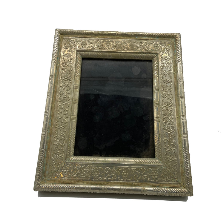Antique Embossed Metal Silver Frame 5x7