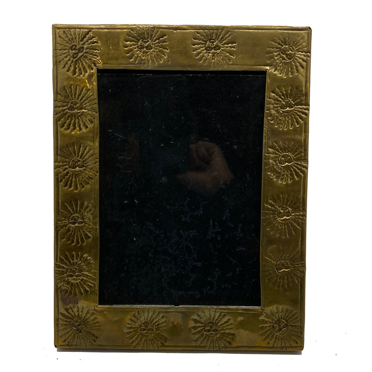 Antique Embossed Brass Frame with Sun Motif