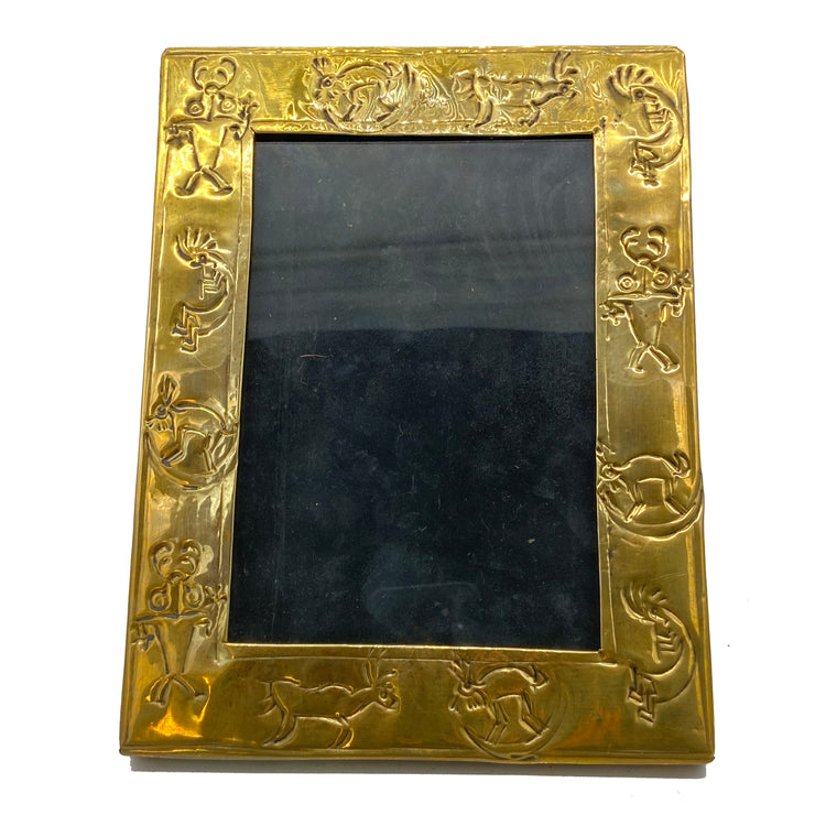 Antique Embossed Brass Frame with Primitive Motifs