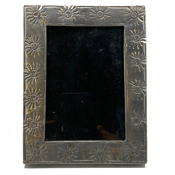 Antique Embossed Silver Frame with Sun Motif