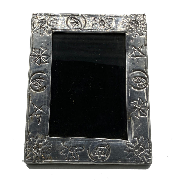 Antique Embossed Silver Frame with Sun and Stars Motif