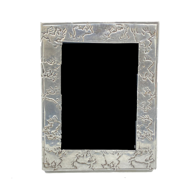 Antique Embossed Silver Frame with Wild Horses Motif