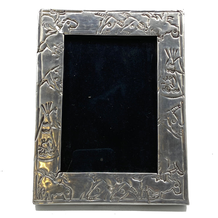 Antique Embossed Silver Frame with Native American Motif