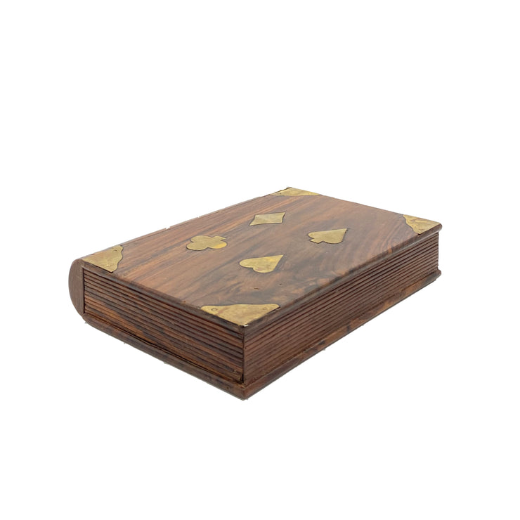 Hand-Carved Wooden Book Box with Brass Inlays