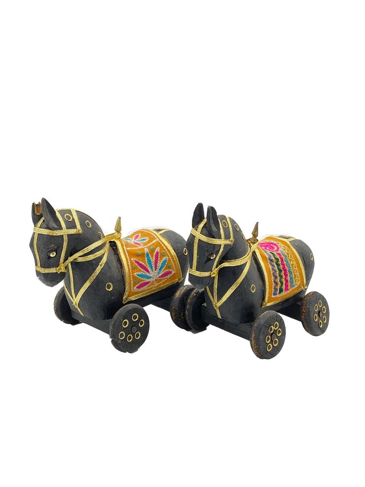 Traditional Folk Horse on Wheels Temple Toy - Black - 1 Piece