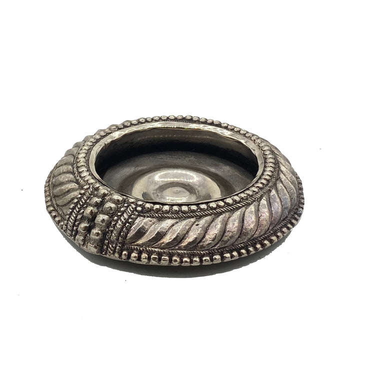 Antique Pewter Silver Jewelry Tray / Candle Holder
