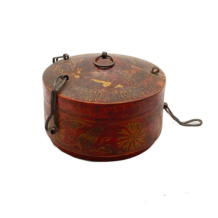 Antique Round Decorative Wooden Box with Sun Pattern