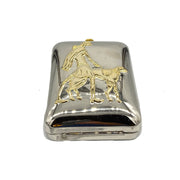 Retro Silver with White Gold Handbag of Lady Walking Dog