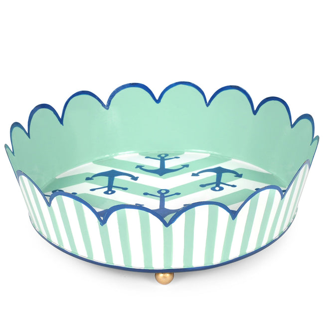 Choppy Seas Scalloped Round Tray