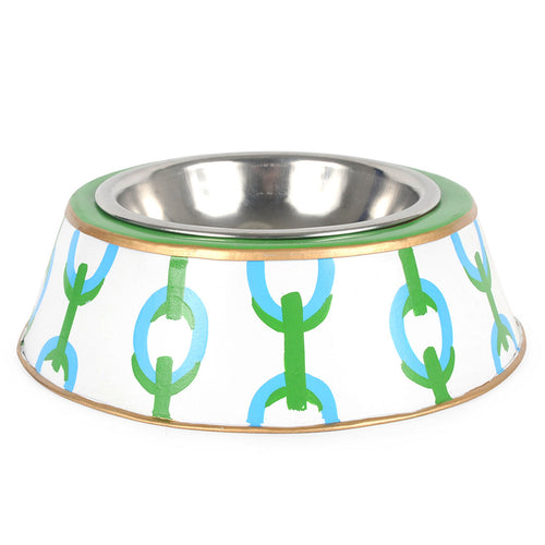 Chain Green Dog Bowl