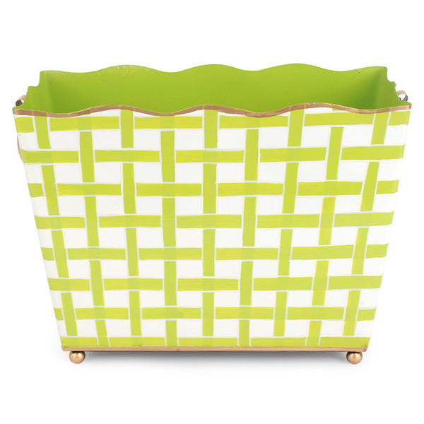 Basketweave Green Rectangular Magazine Holder