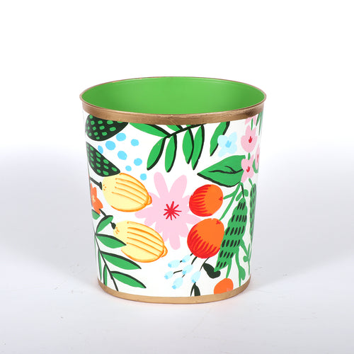 "Sample Floral Fruit Large Oval Wastebasket ""As-Is"""