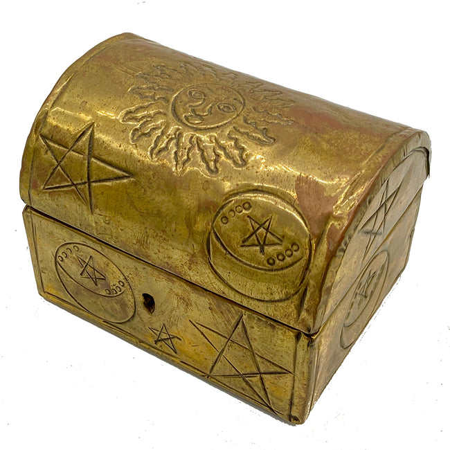 Antique Sun and Stars print Small Vaulted Decorative Box
