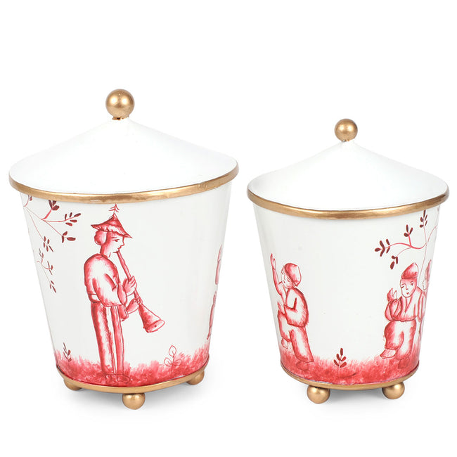 Chinoiserie Set of 2 Canisters