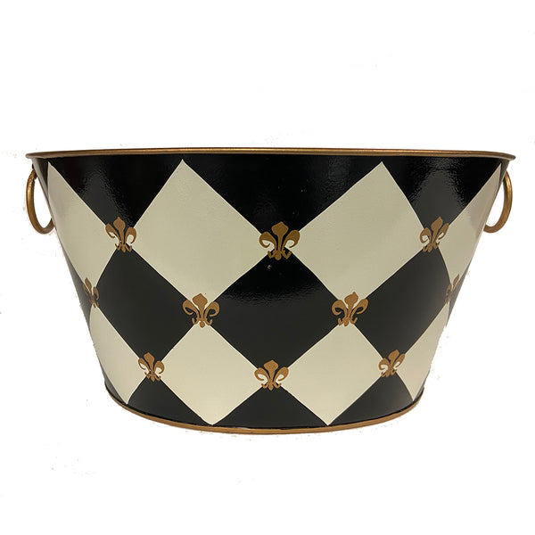 "Sample Harlequin Fleur De Lis Tub with handles ""As-Is"""