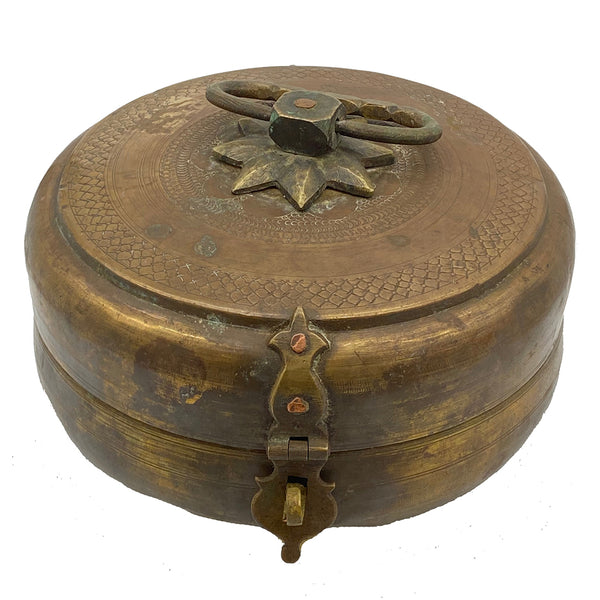 Antique Chapati Box with Pointed Flower top