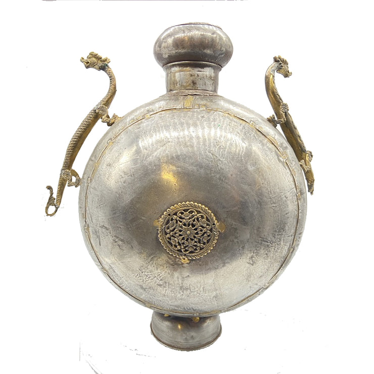 Antique Pewter Silver Dragon Oil Jar with Brass Accents