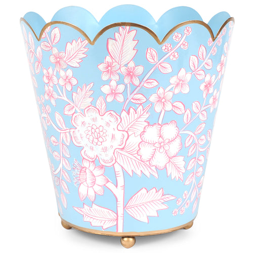 Floral Toile Scallop Top Wastebasket