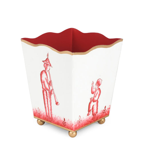 "Chinoiserie Red 4"" Square Decorative Cachepot"