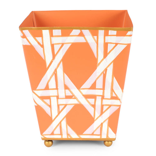 "Cane Orange 6"" Square Cachepot"