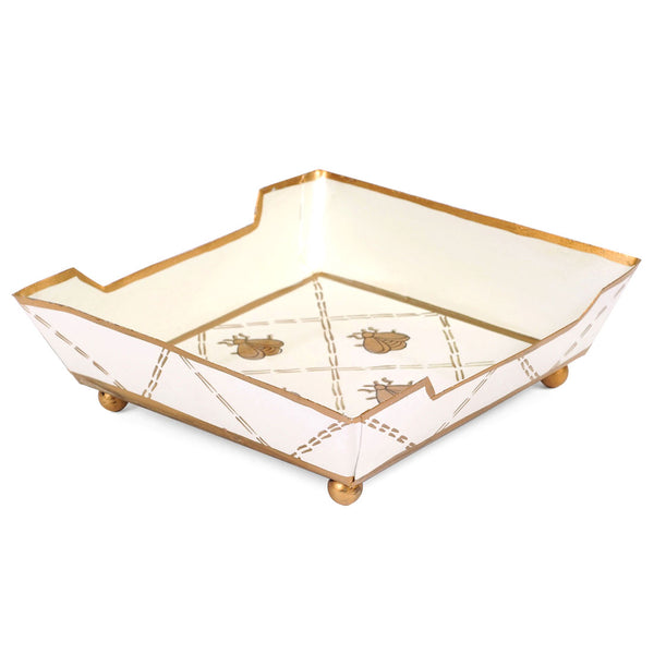French Bee Cream And Gold Cocktail Napkin Tray