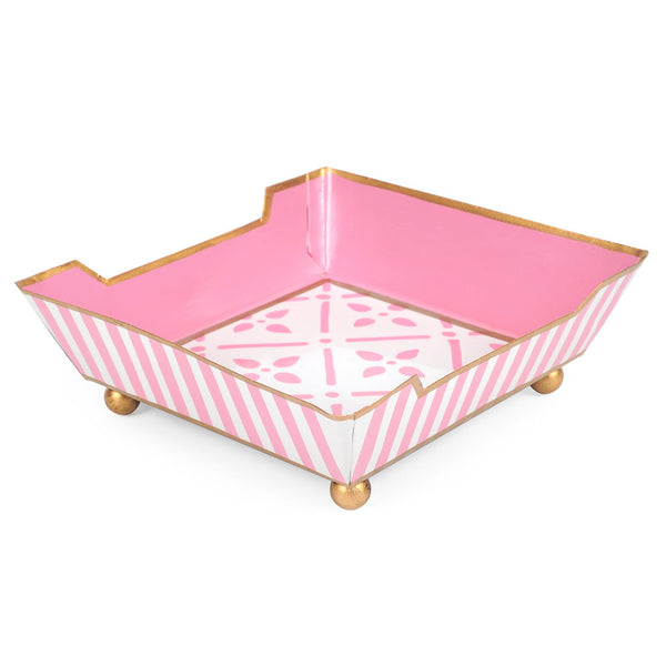 Flora Pink Cocktail Napkin Tray