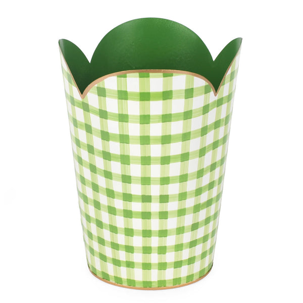 Gingham Green Tulip Wastebasket