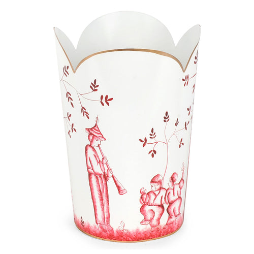 Chinoiserie Red Tulip Wastebasket