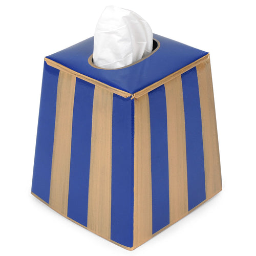 Brush Stripe Navy Tissue Box Cover