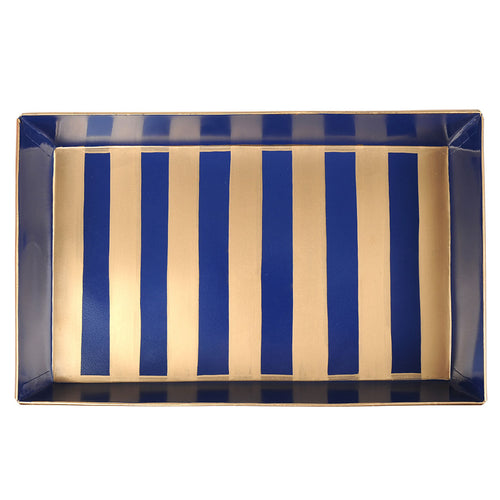Brushed Stripe Navy Gold Organizing Tray