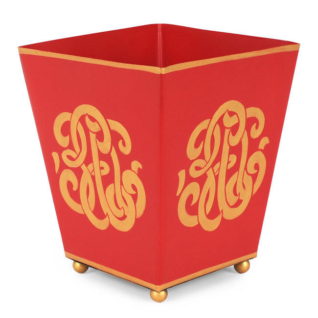 "Heritage Crest Red 6"" Square Cachepot"