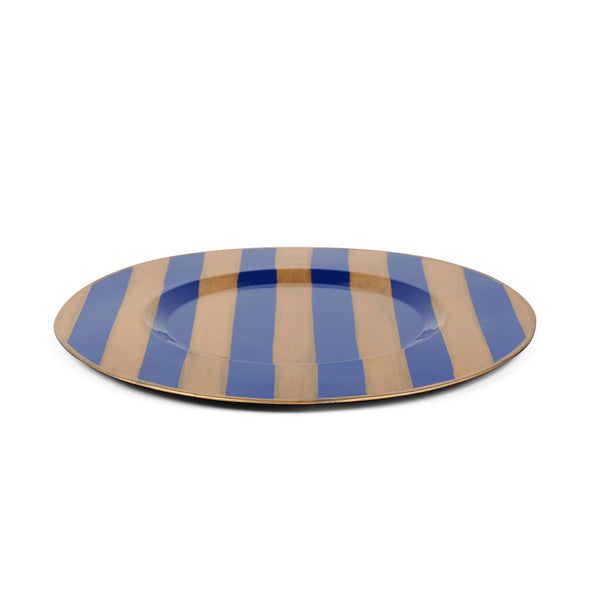 "Brushed Stripe Navy 11"" Charger Plate 4-Pack"