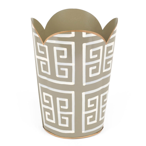 Greek Key Grey Tulip Wastebasket
