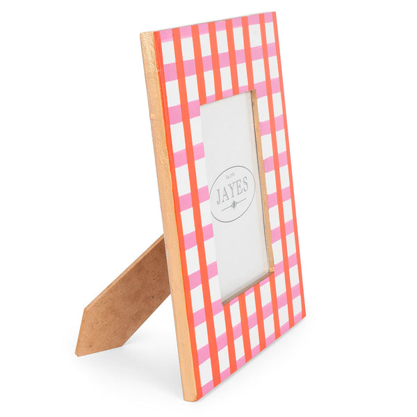 "Gingham Pink Orange 5""x7"" Picture Frame"