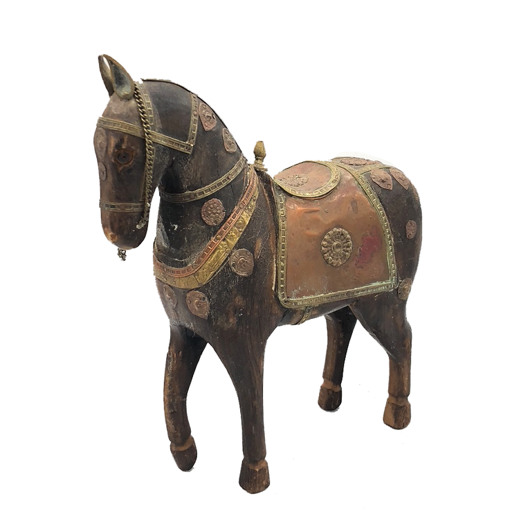 Antique Wooden Warrior Horse with Brass Blanket and Embellishments