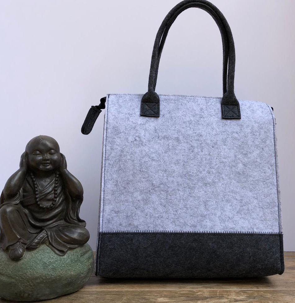 Customized Light and Dark Grey Handbag  Meditation Collection