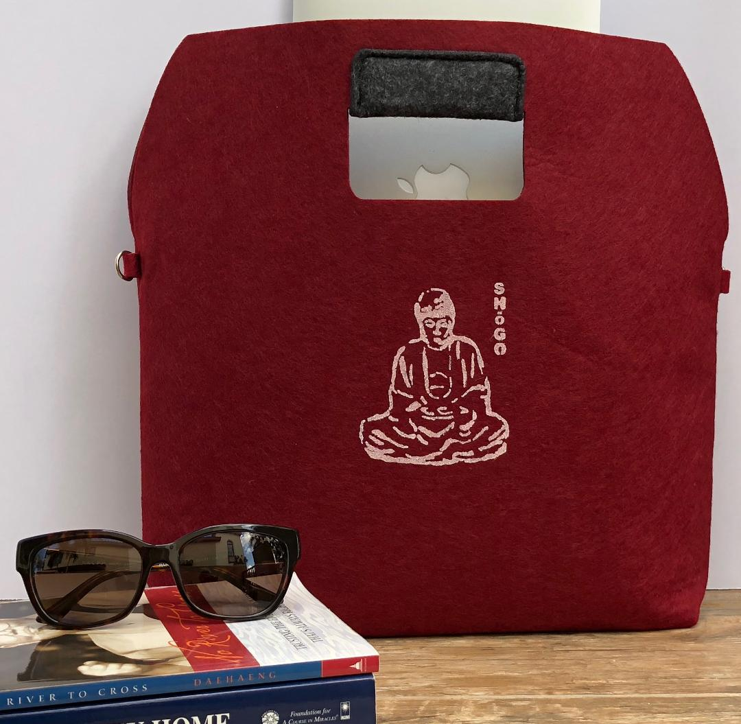 Customized Burgundy and Grey Handbag   Meditation Collection