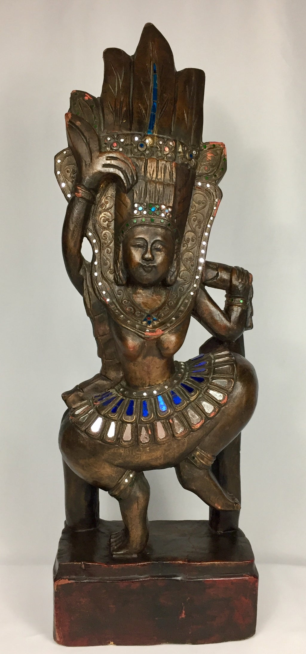 Thai Wooden Carved Dancer Sculpture