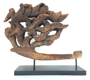 Thai Wood Carved Bird Sculpture on Stand