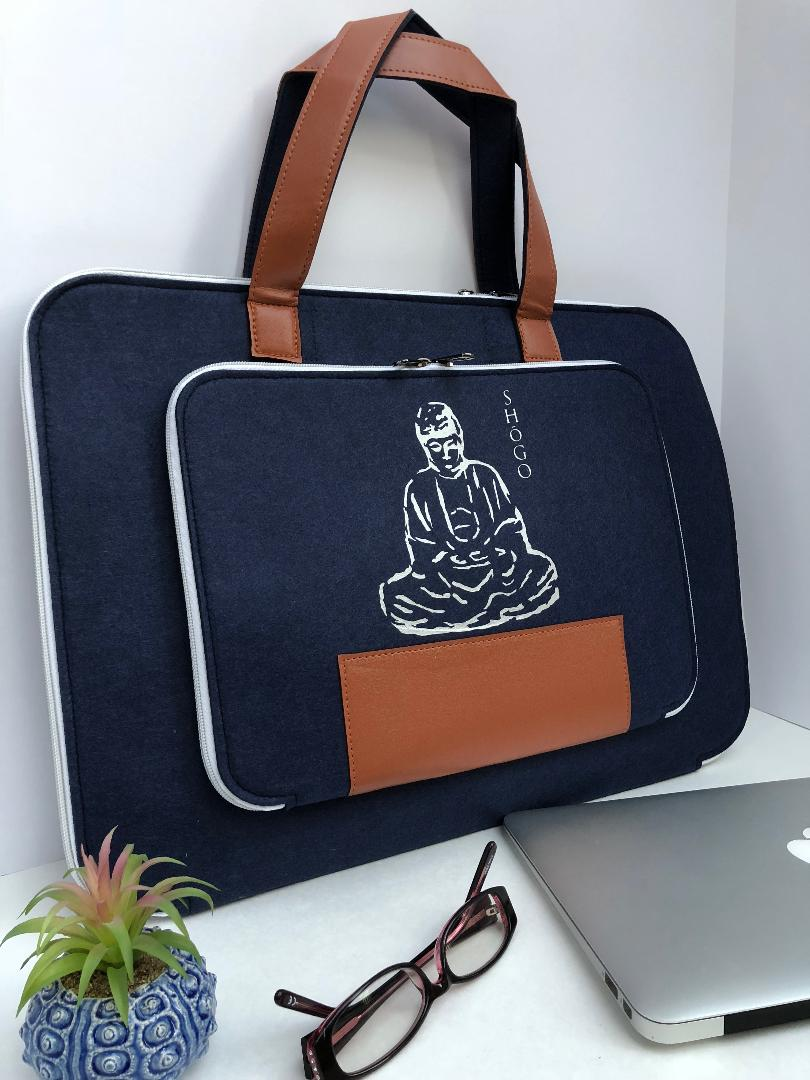 Customized Blue Laptop Sleeve bag  Meditation Collection