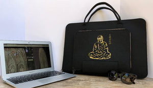 Customized Black Laptop Sleeve bag  Meditation Collection