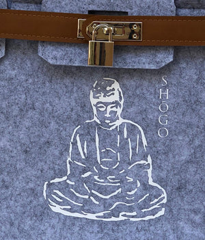 Customized Light Grey Handbag with lock   Meditation Collection