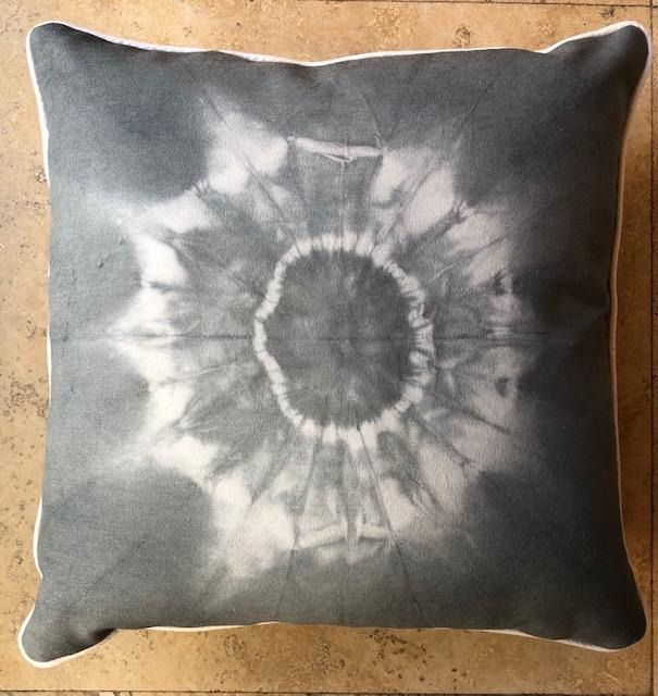 Origami Charcoal Shibori Throw Pillows
