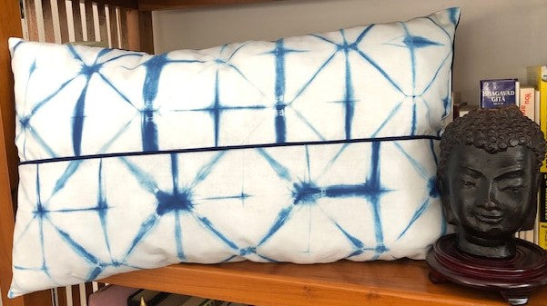Indigo Shibori Throw Long Pillow
