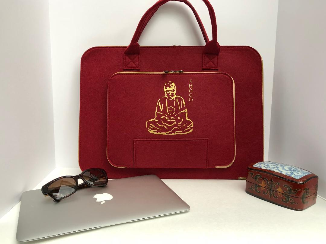 Customized Red Laptop Sleeve bag  Meditation Collection